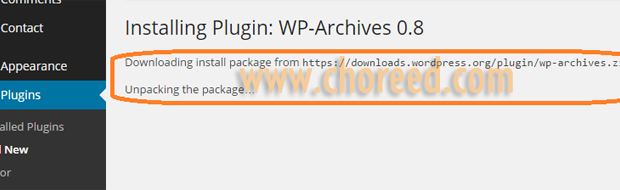 unpacking package of wp-archives