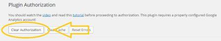 clear authorization google analytics